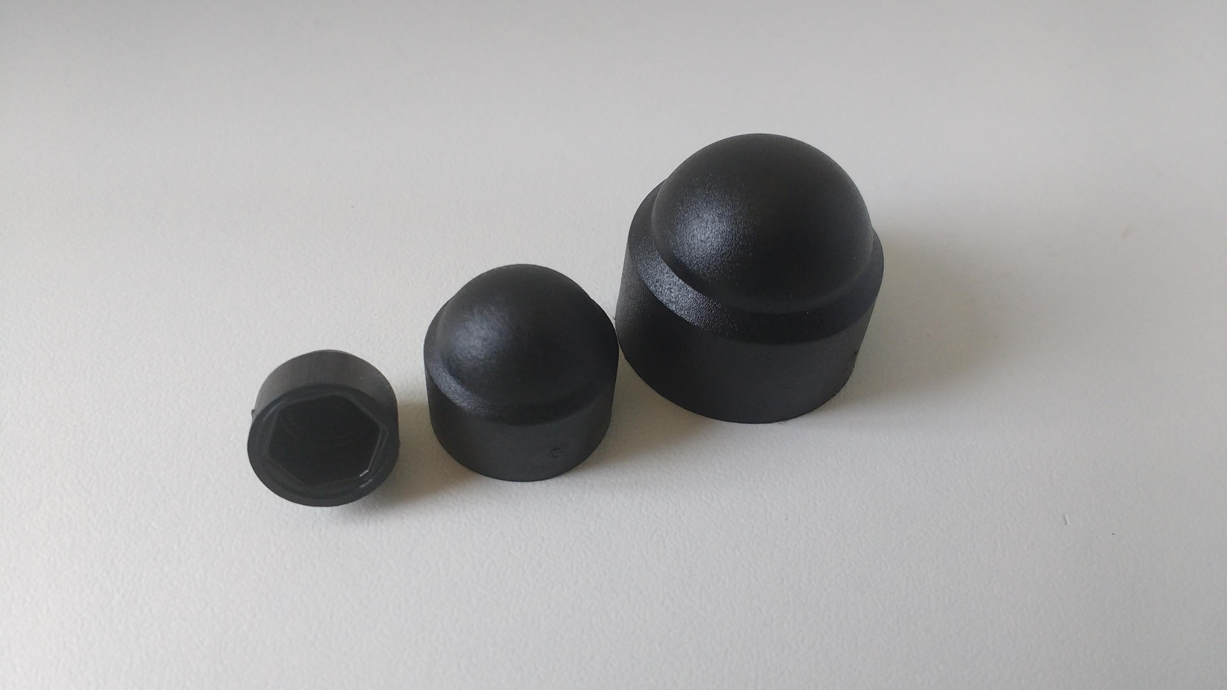 100 Stück Sechskant Schutzkappe Schlüsselweite 16 mm, Farbe schwarz - Abdeckkappe Sechskantschutzkap