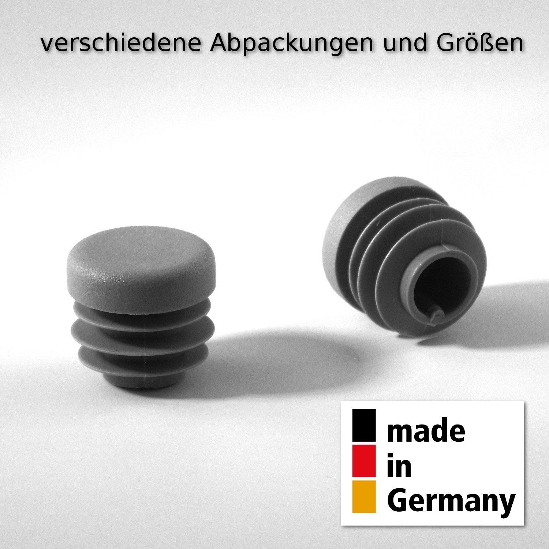 20 Stck. Lamellenstopfen Rohrstopfen Pfostenkappen Rund 100 mm Grau