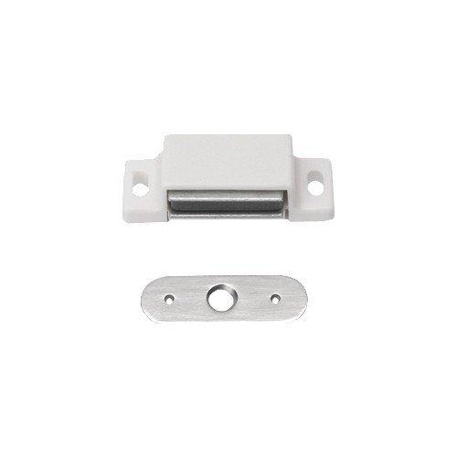 2 Stück Magnetschnäpper Schrankschnäpper Möbelschnäpper weiss mit Metall Gegenplatte,3-4 kg Haltekra