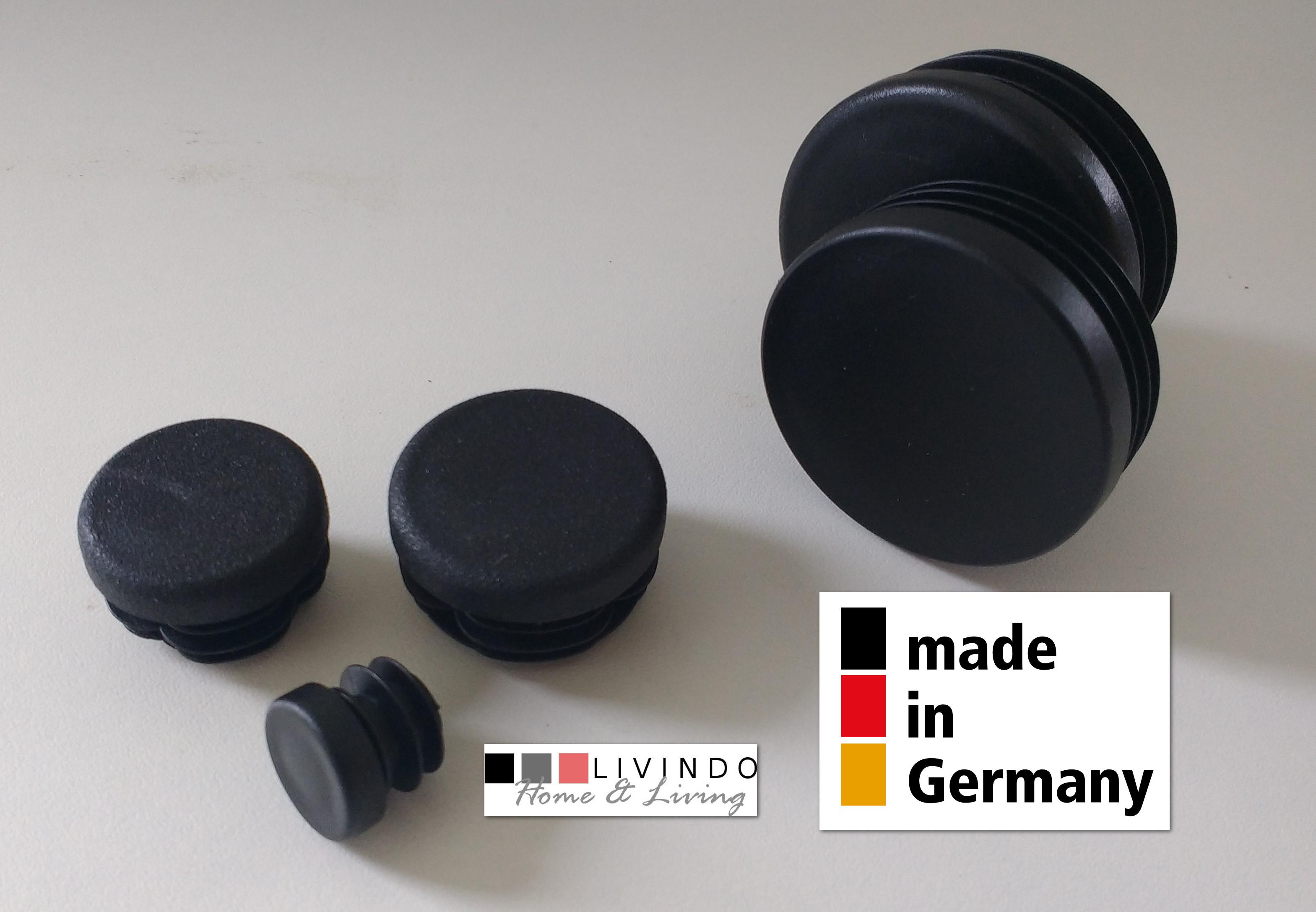 10 Stck. Lamellenstopfen Rohrstopfen Pfostenkappen Rund 20 mm Schwarz