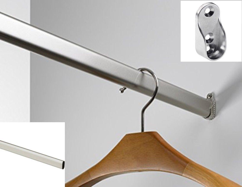 Kleiderstange 30 x 15 mm, auf Maß 100 - 150 cm, inkl. Schrankrohrlager Garderobe