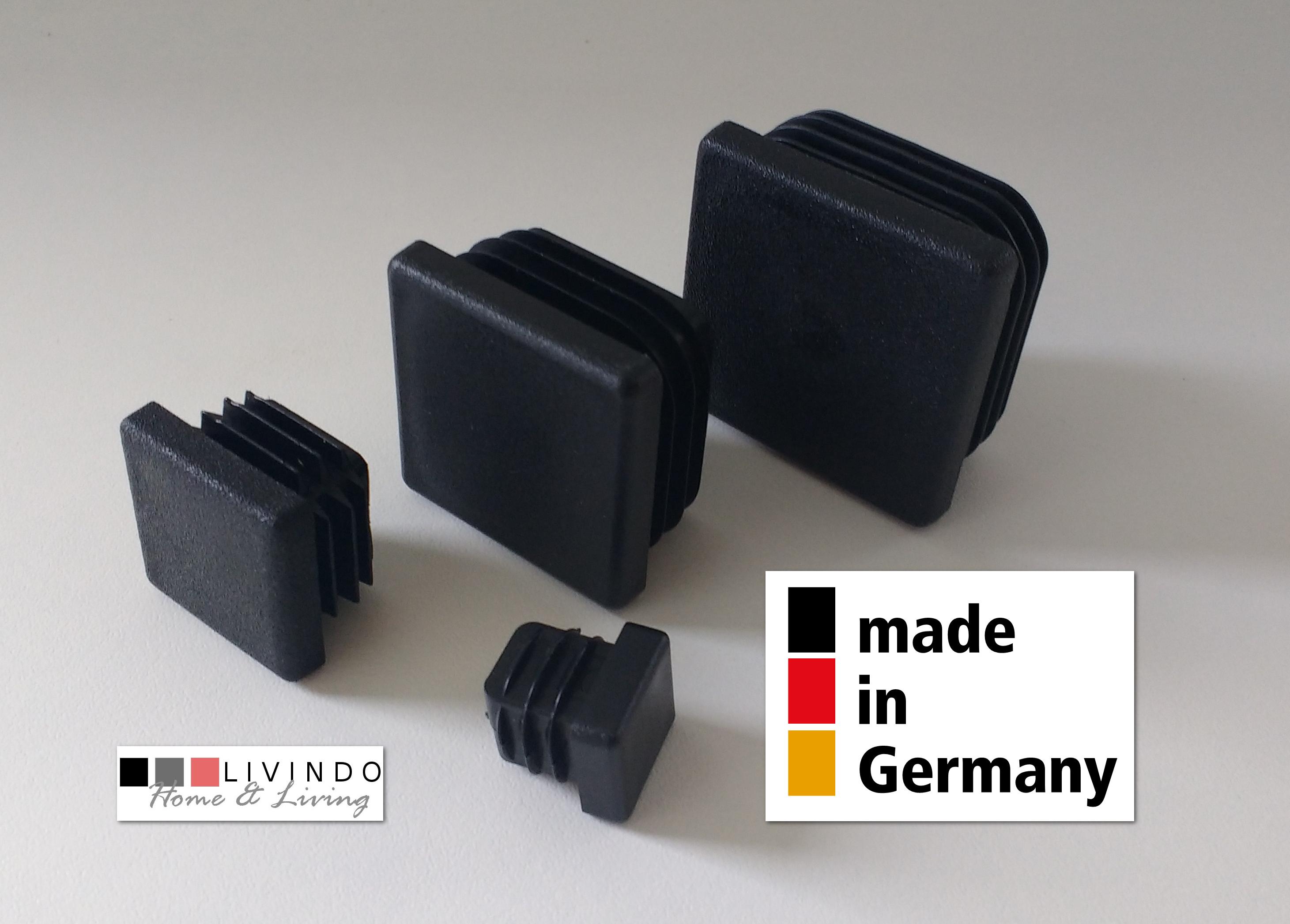 10 Stück Lamellenstopfen Schwarz 28 x 28 mm Aussen - livindo.pro©