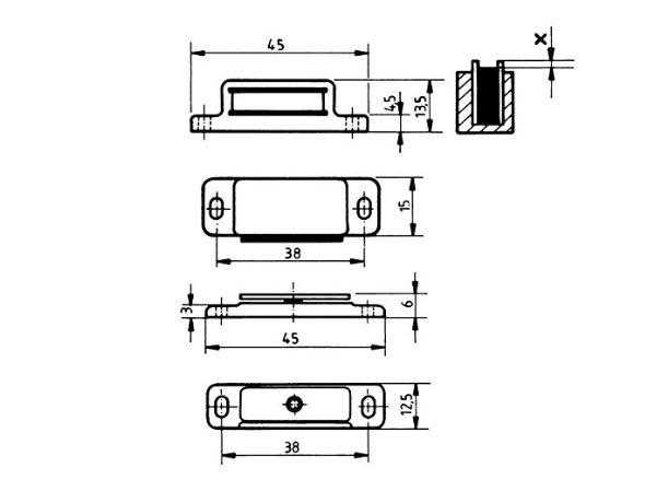 Premium Qualität - Set mit 8 Stück braune Magnetschnäpper,Aufschraubschnäpper,Tür Halterungen, braun