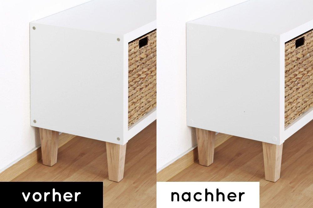 Livindo Set 8 x Beige Eiche Schraubenabdeckung Ikea Kallax / Abdeckkappe Seitliche Ikea Kallax-Schra