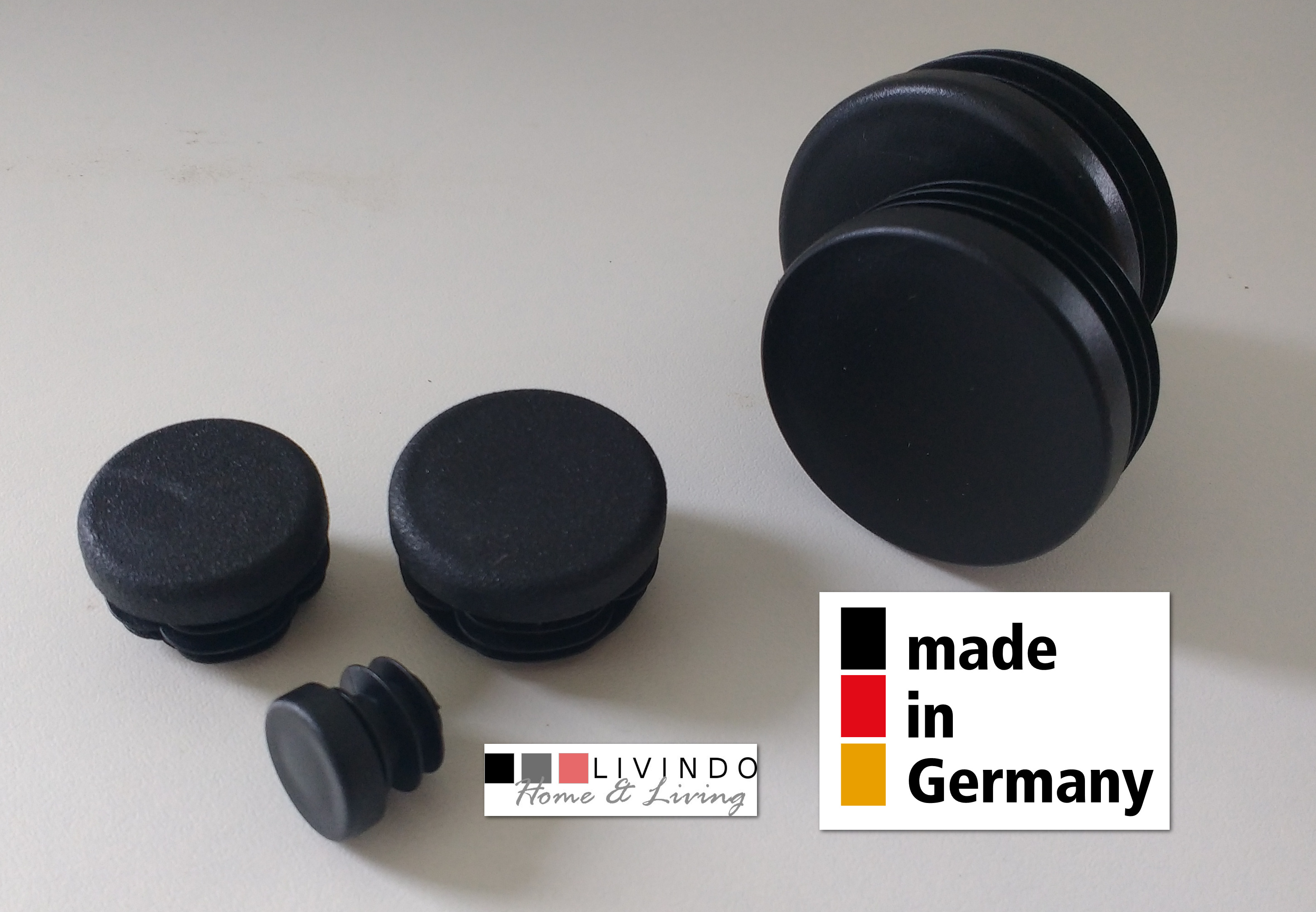 10 Stck. Lamellenstopfen Rohrstopfen Pfostenkappen Rund 45 mm mm Schwarz