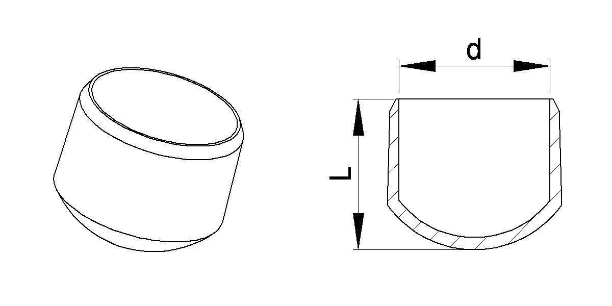 10 mm Rund Stuhlbeinkappe Weiss Innenmaß