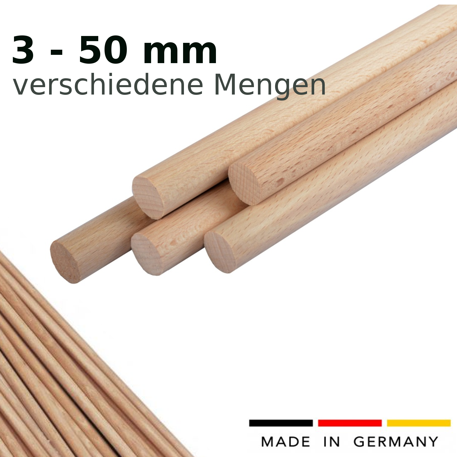 12 mm Rundstab Buche glatt 100 cm -  1 Stück