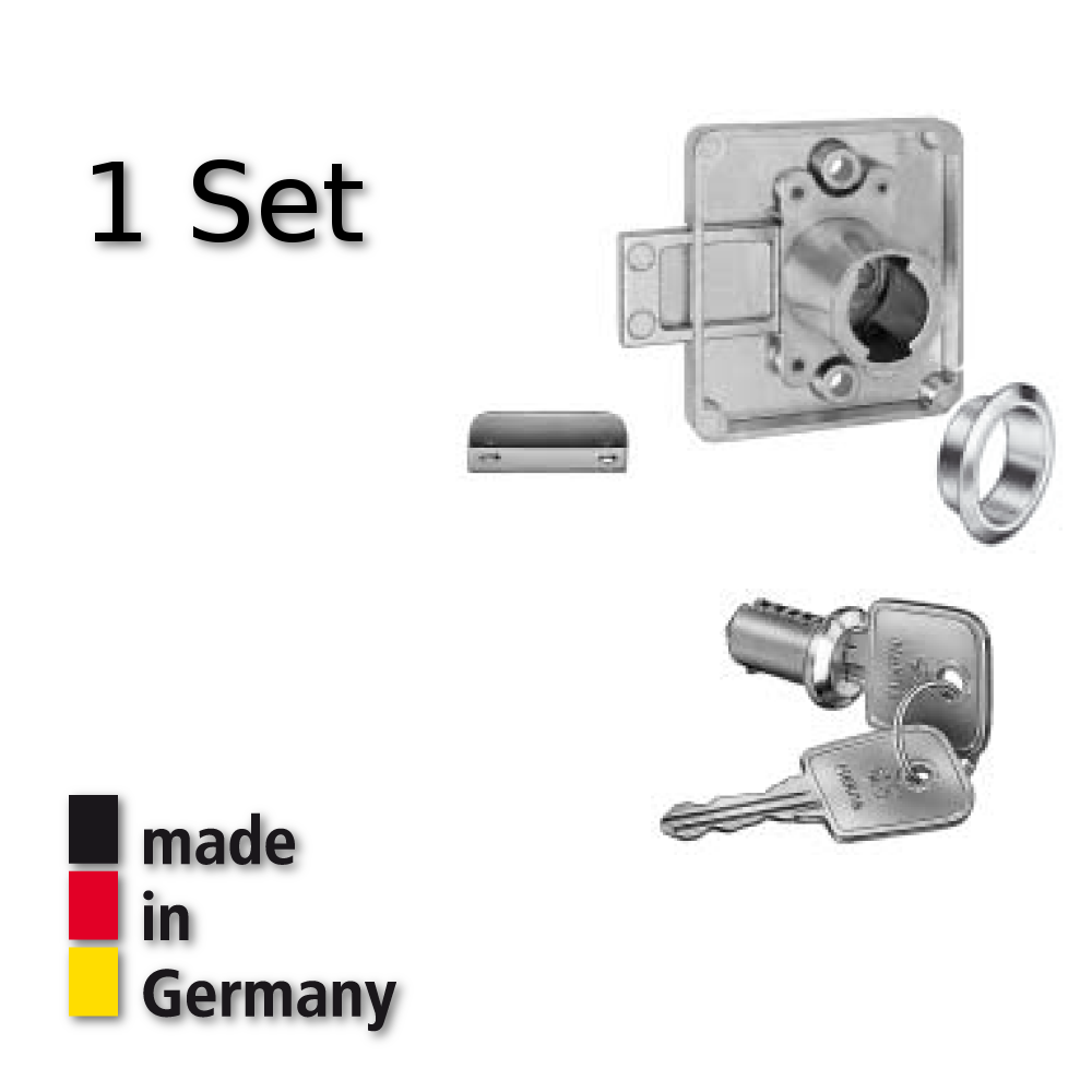 Hekna Aufschraubschloß Hinterlegschloß Möbelschloß Set Dorn 25 mm Typ 1275 links