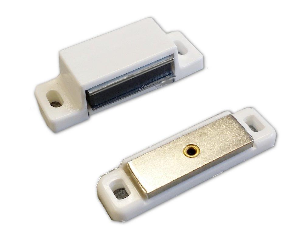 Premium Qualität - Set mit 4 Stück Magnetschnäpper,Aufschraubschnäpper,Tür Halterungen, weiß, 4 kg,
